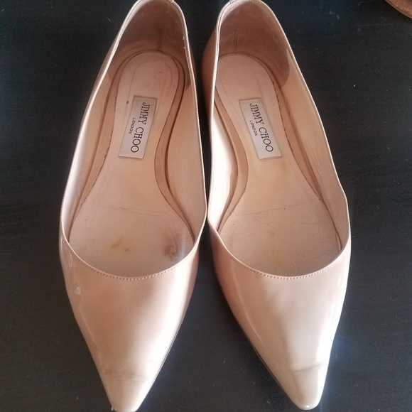 43c77f4469 Jimmy Choo Shoes | Nude Patent Romy Pointed Toe Flats | Poshmark